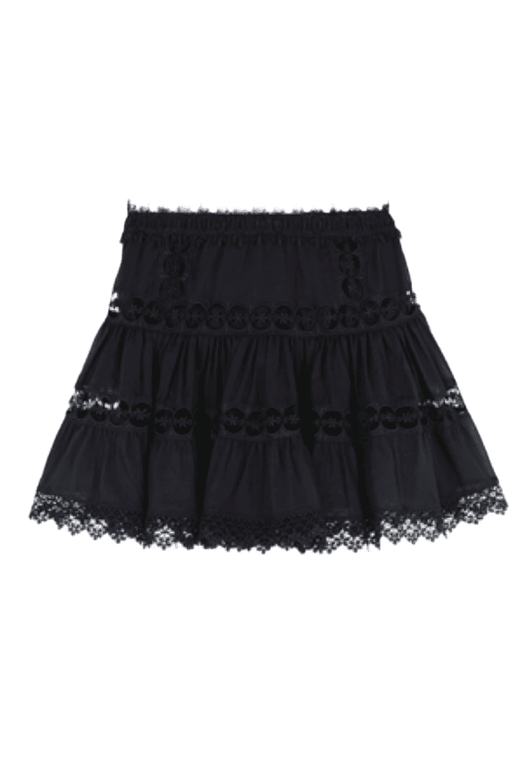 Greta Black Cotton & Lace Mini Skirt