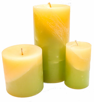 White Ginger Beeswax Pillar Candles