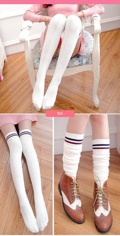 Spring Women Twist Stripes High Compression Socks