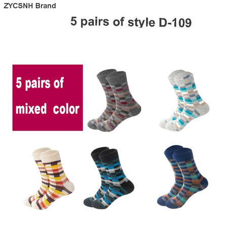 5 Pairs Men's Colorful Compression Cotton Socks