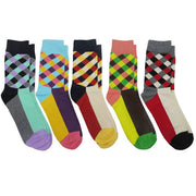 5 Pairs Mens Colorful Business Compression Socks