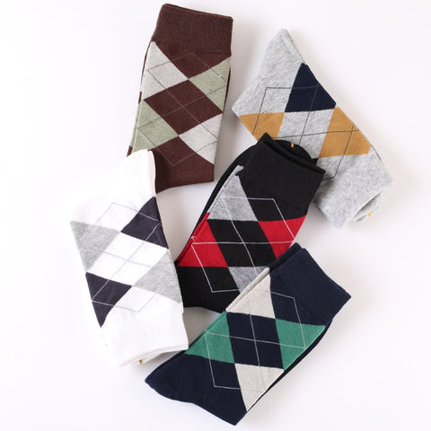 5 or 10 Pairs Mens plaid Compression socks
