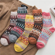 5 Pairs Womens Winter Vintage Colorful Soft Socks