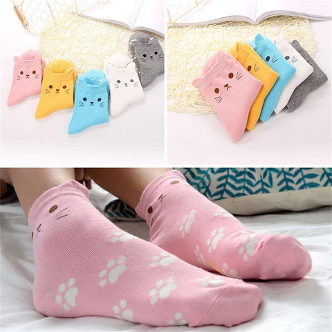 5 Pairs Womens Girls Cute Cat Footprints Socks
