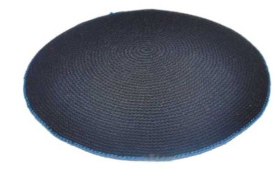 C KNITTED FLAT DMC KIPPAH 16 CM- BLUE WITH GREEN