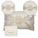 Brocade & Velvet Passover 4 Pcs Set: Matza Cover, Afikoman Bag, Towel & Pillow - Beige & White - UK64965