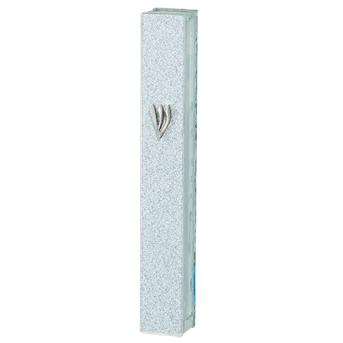 Glitter Glass Mezuzah with Silicon Cork 12 cm - Silver Shin