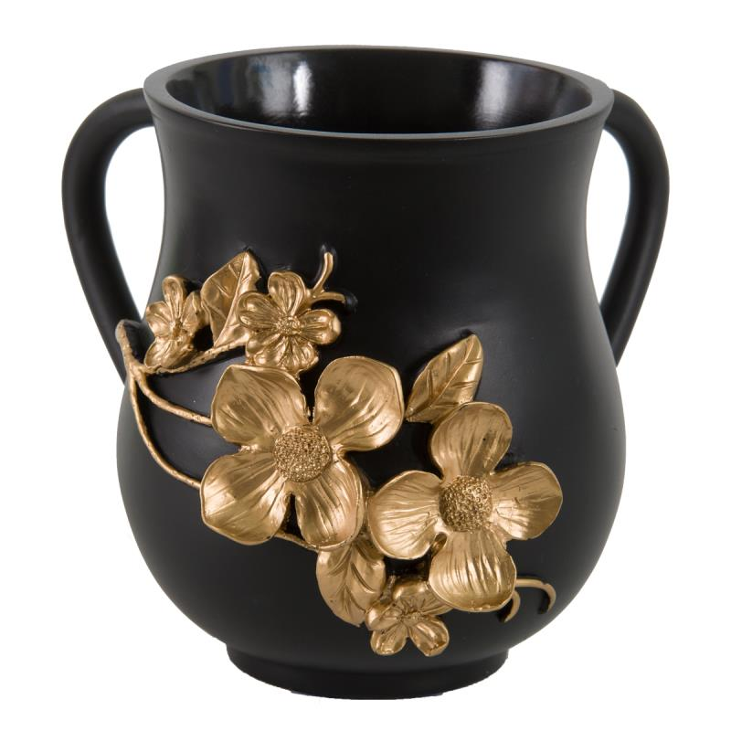 Polyresin Washing Cup - Black, Gold Flower Vine - 14 cm