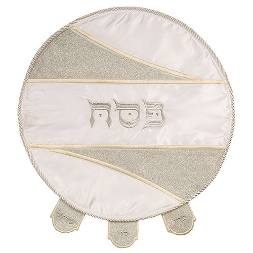 "Elegant White Satin Matzah Cover Laid with Stones, Special Design - ""Cuts"" Silver Glitter - 46cm"