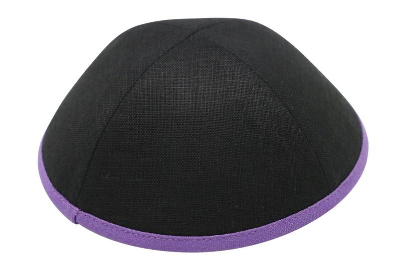 IKIPPAH BLACK LINEN WITH PURPLE RIM YARMULKE