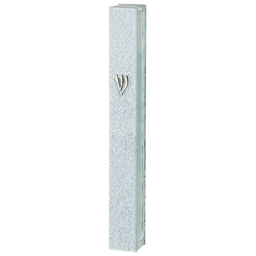 Glitter Glass Mezuzah with Silicon Cork 15 cm - Silver Shin