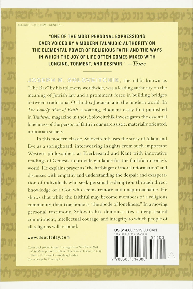 The Lonely Man of Faith - Soloveitchik - p/b