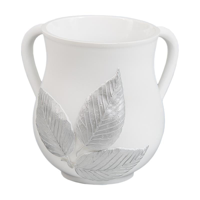 Polyresin Washing Cup - White, 3 Silver Leaves -  14 cm