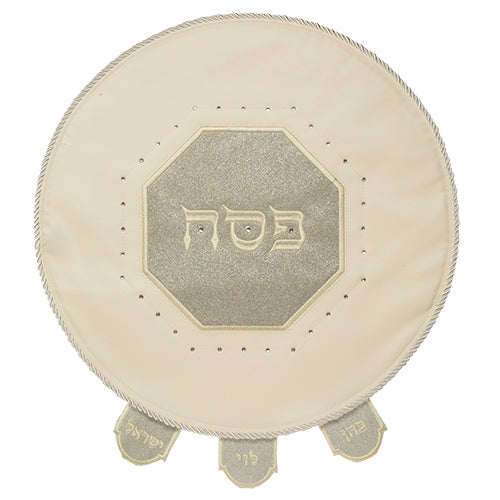 Beige & Shimmery Grey Faux Leather Matzah Cover Laid with Stones - 46CM