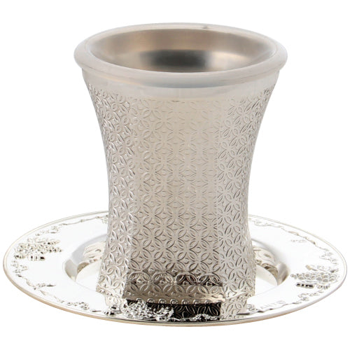 Kiddush Cup - Nickel - 9cm - with Ornate Design - UK41992