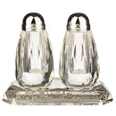 Crystal Salt & Pepper Shaker Set - 13x10 cm - Laser Cut Metal Plaque - With Base