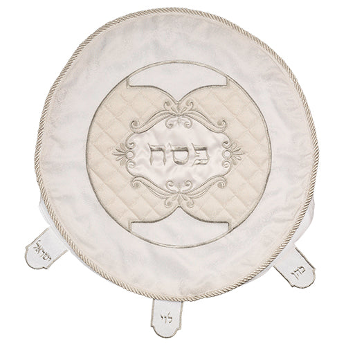 Round Passover Matzah Cover - Damask & Quilted - White & Cream -  45 CM - UK65150
