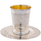 METAL KIDDUSH CUP 9 CM WITH SAUCER, NO STEM