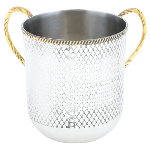 Stainless Steel Washing Cup - Hammered Design With Gold Handles  - 13cm - UK53389