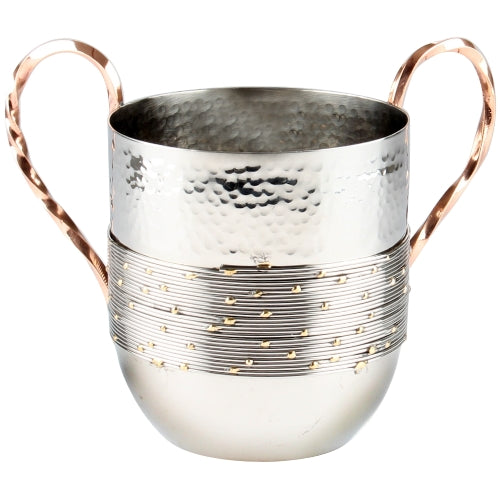Aluminum Washing Cup - Hammered Design With Silver Strands and Beaded Gold & Copper Handles- 16 cm - UK55090