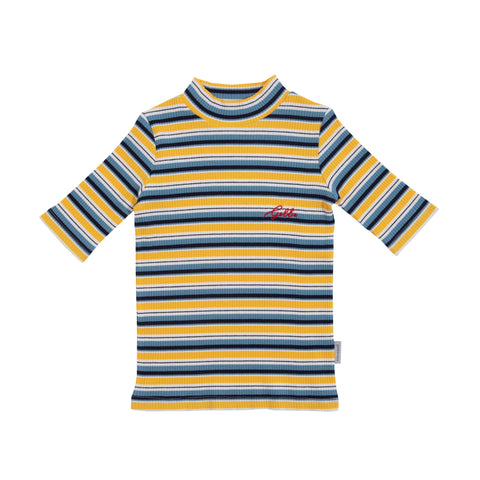 Stripe Ribbed Turtle Neck Top / Yellow