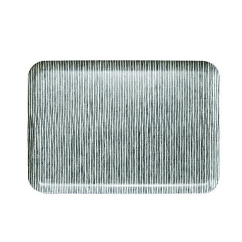 Linen Tray Large / Grey Stripe