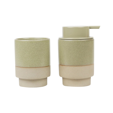 Soap Pump & Tumbler Set / Olive