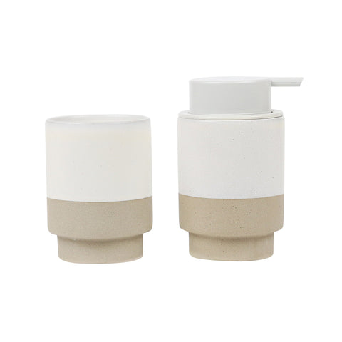 Soap Pump & Tumbler Set / White