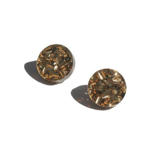Circle Stud Earrings / Bronze