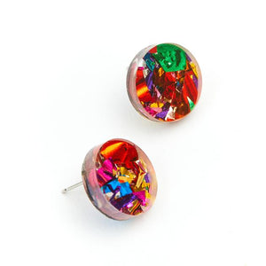 Circle Stud Earrings / Rainbow