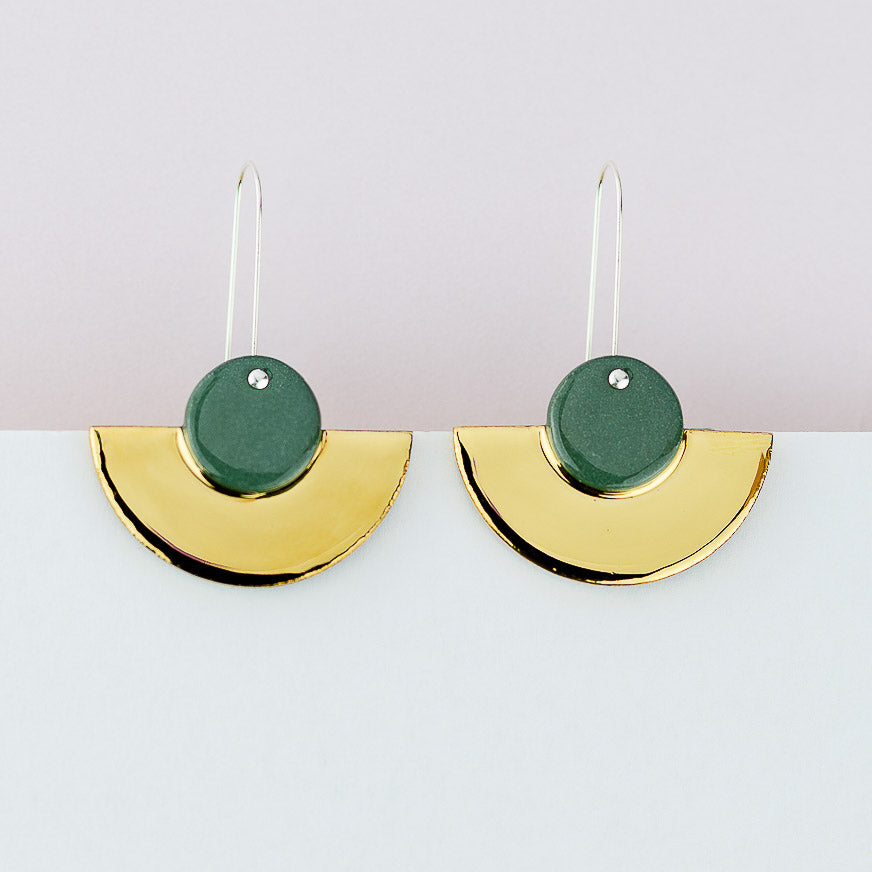 Crescent Earrings / Green