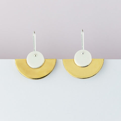 Crescent Earrings / White