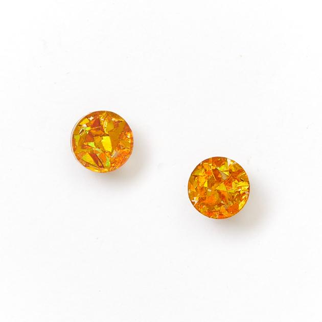 Mini Circle Stud Earrings / Amber