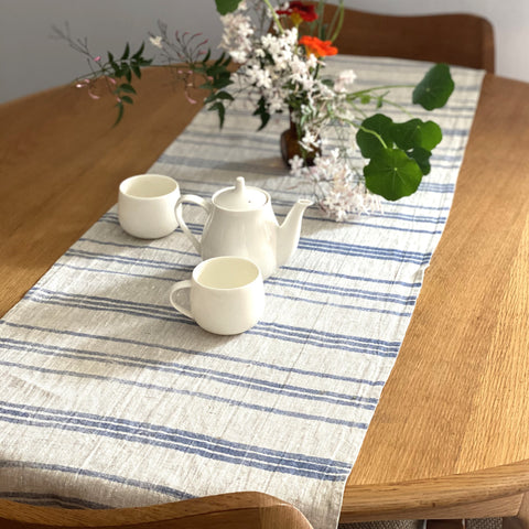 Hand Print Table Runner / Indigo