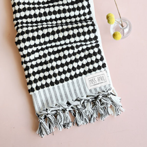 Turkish Hand Towel / Black & White