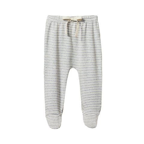 Cotton Footed Rompers / Grey Stripe