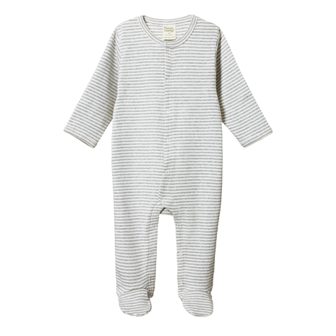 Cotton Stretch & Grow / Grey Stripe
