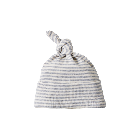 Cotton Knotted Beanie / Grey Stripe