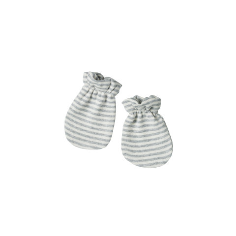 Cotton Newborn Mittens / Grey Stripe