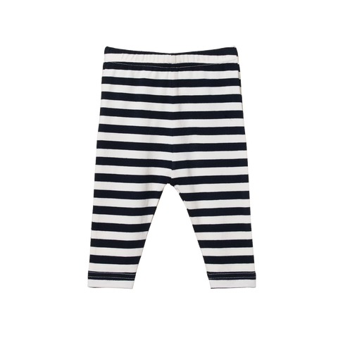 Cotton Leggings / Navy Sea Stripe