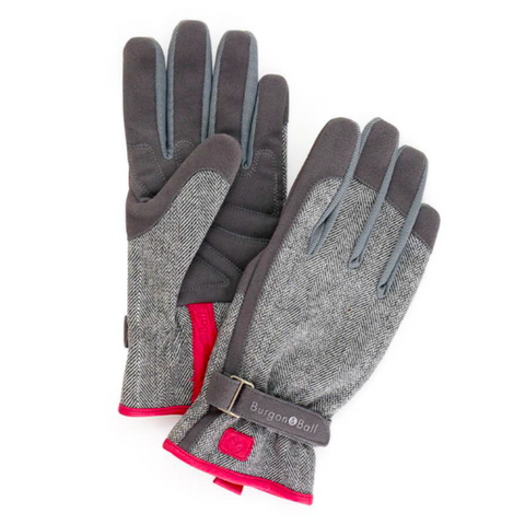'Love The Garden' Gloves / Grey Tweed