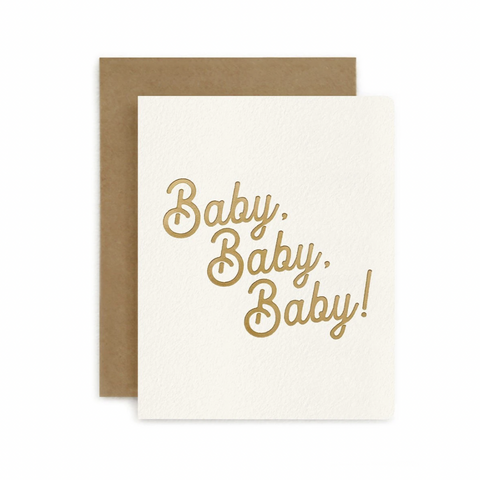 Petite Letterpress Card / Baby Baby Baby!