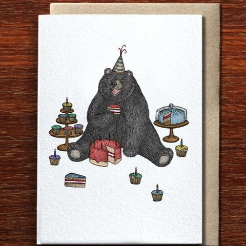 Greeting Card / Bear Who Loves Cake