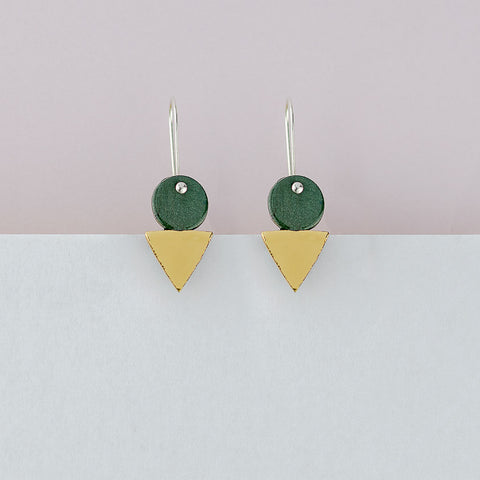 Tri Stack Earrings / Green