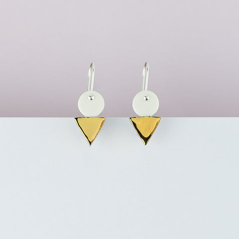Tri Stack Earrings / White