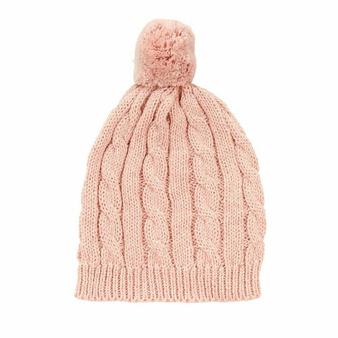 Arlo Cable Knit Baby Hat / Pink
