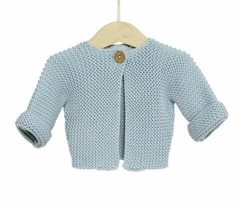 Cotton Chunky Knit Baby Cardigan / Blue