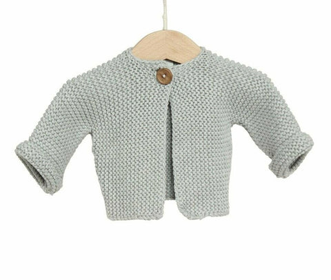 Cotton Chunky Knit Baby Cardigan / Grey
