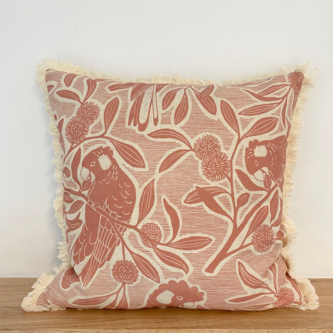 Hand Printed Cushion / Cockatoo in Rose