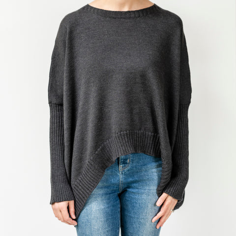 Pure Merino Boxy Crop Knit / Charcoal